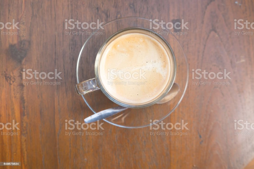 cup of hot coffee on wood background stock photo