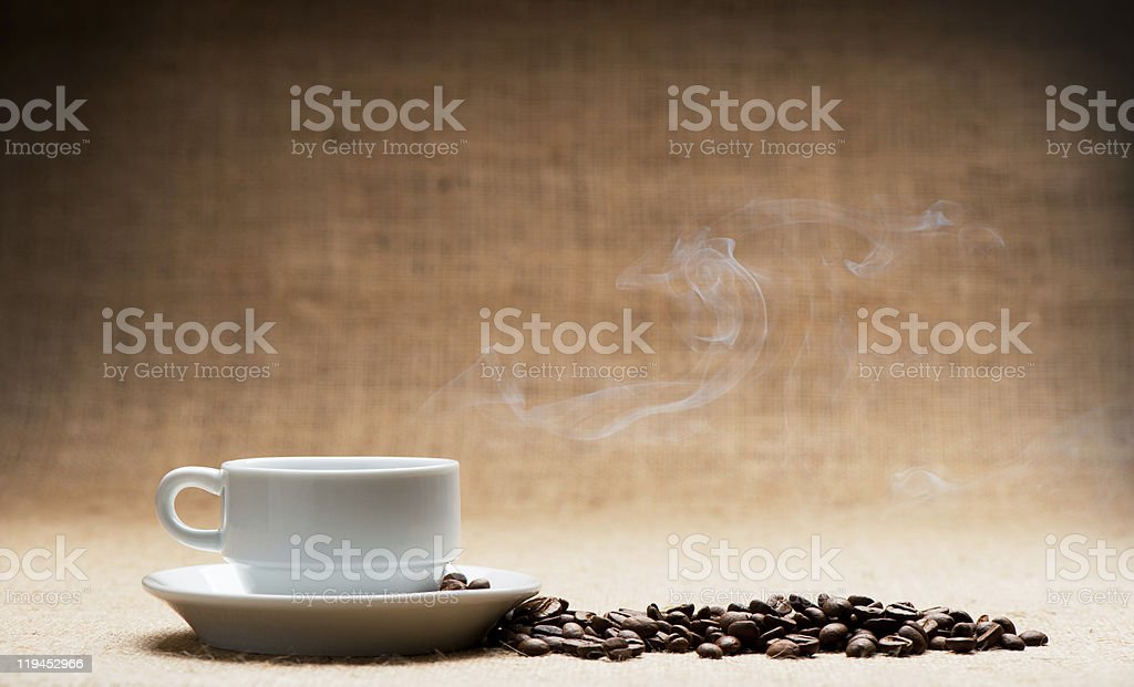Cup of hot coffee royalty-free stock photo