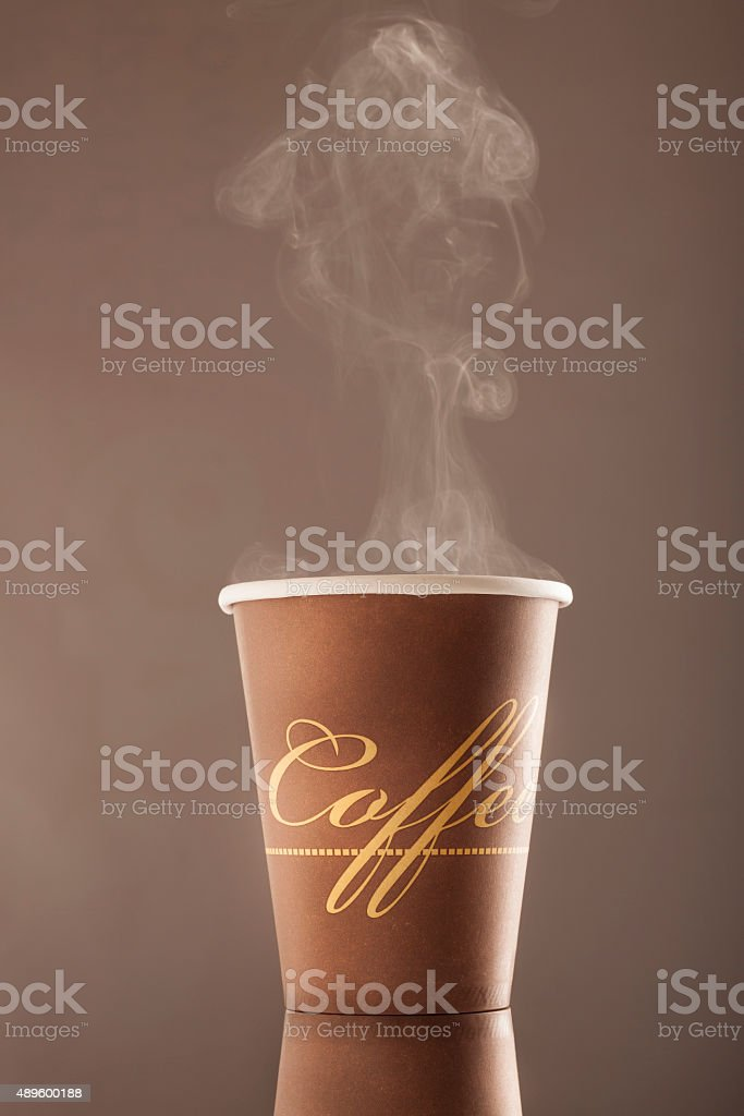 cup of hot coffee with smoke stock photo