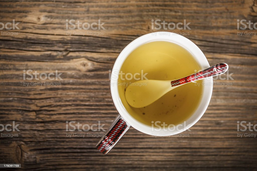 Cup of hot green tea royalty-free stock photo