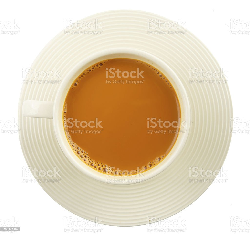 Cup of hot milk tea on white stock photo