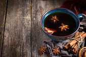 Cup of hot spicy tea with anise and cinnamon
