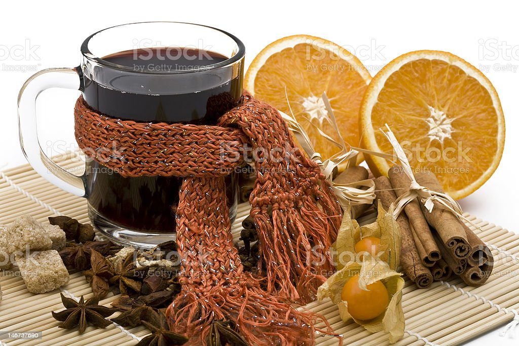 cup of hot wine stock photo