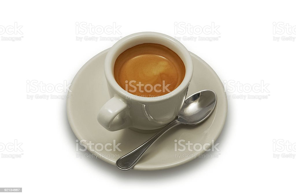 Cup of Italian espresso coffee on white background royalty-free stock photo