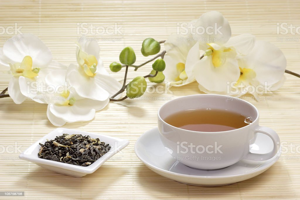 Cup of jasmine tea stock photo