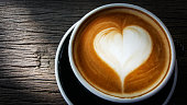 Cup of Latte art  on old wooden background,top view