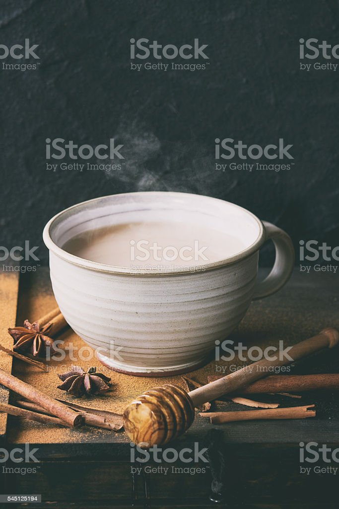 Cup of masala chai stock photo