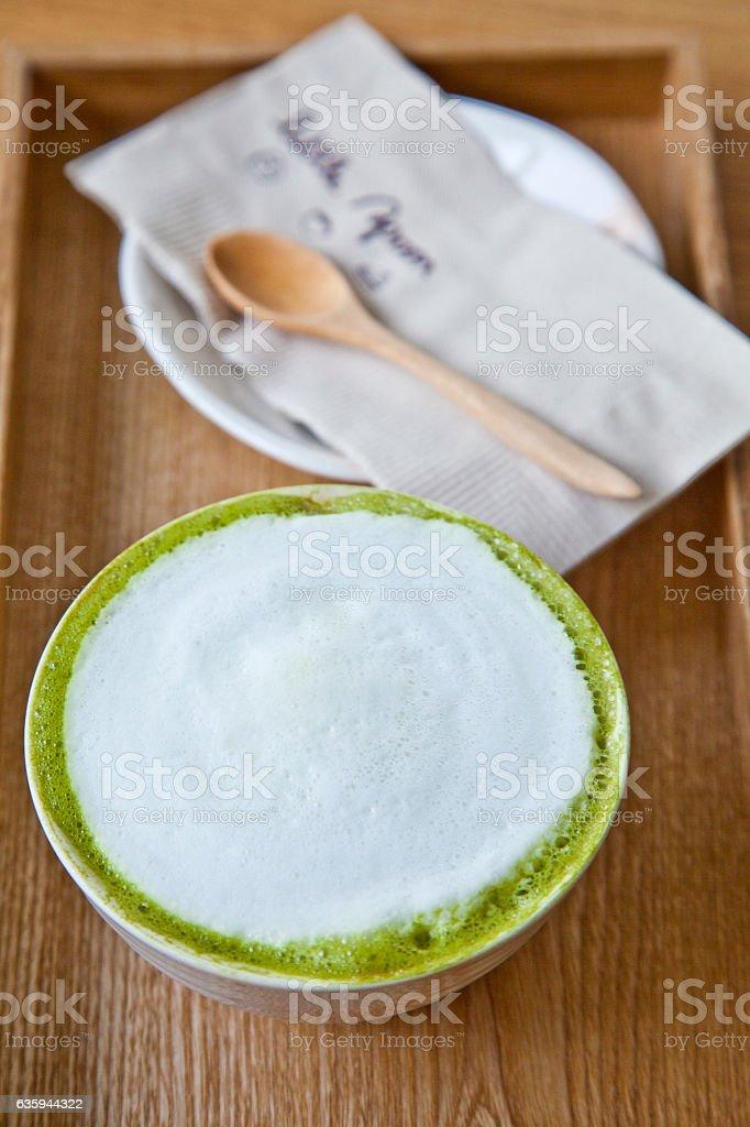 Cup of matcha green tea latte stock photo