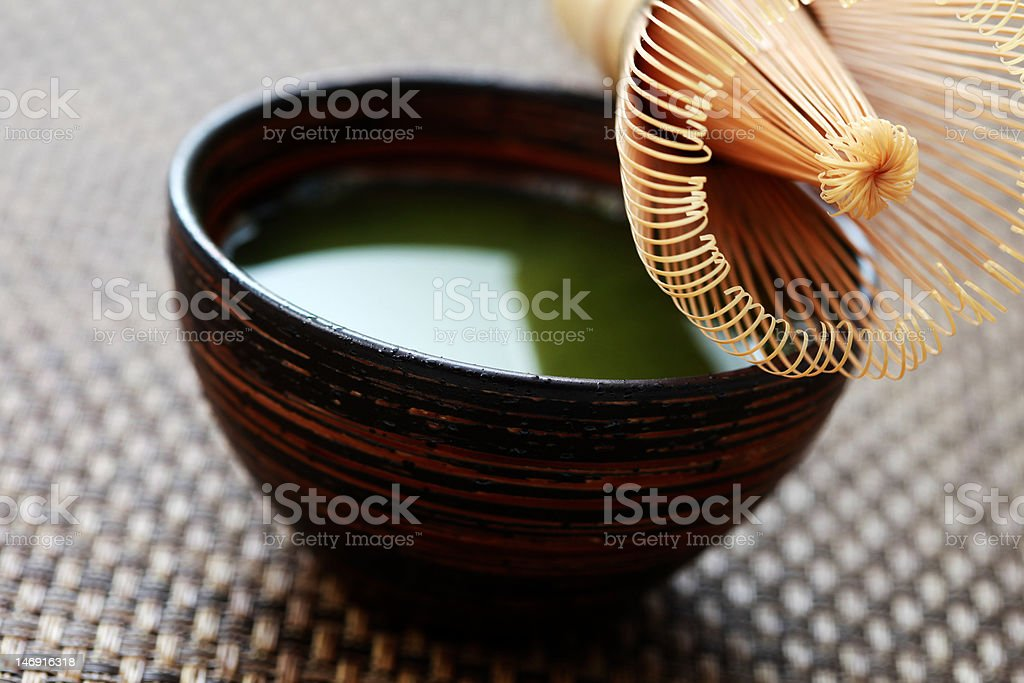 cup of matcha stock photo