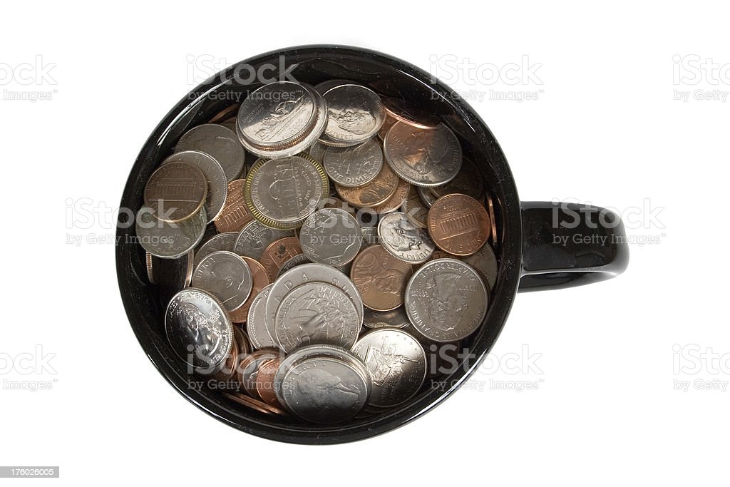 Cup of Money - Viewed from Above stock photo