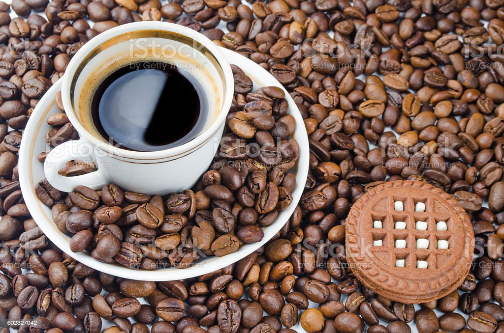 cup of scalded coffee on a table stock photo