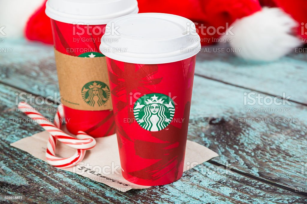 Cup of Starbucks holiday beverage stock photo