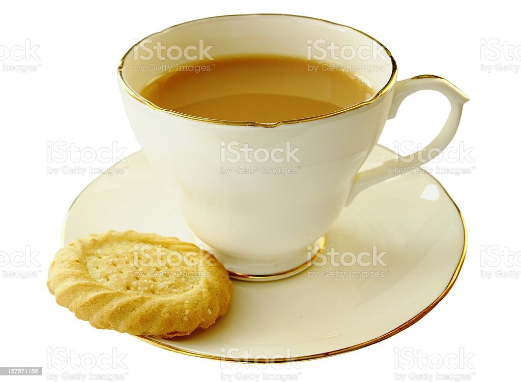 Cup of tea and a shortbread biscuit stock photo