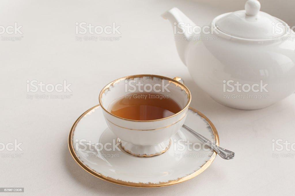 Cup of Tea and a tea pot stock photo