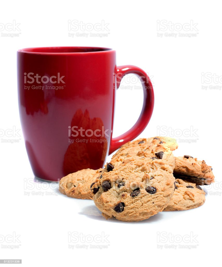 Cup of tea and cookies isolated on white stock photo