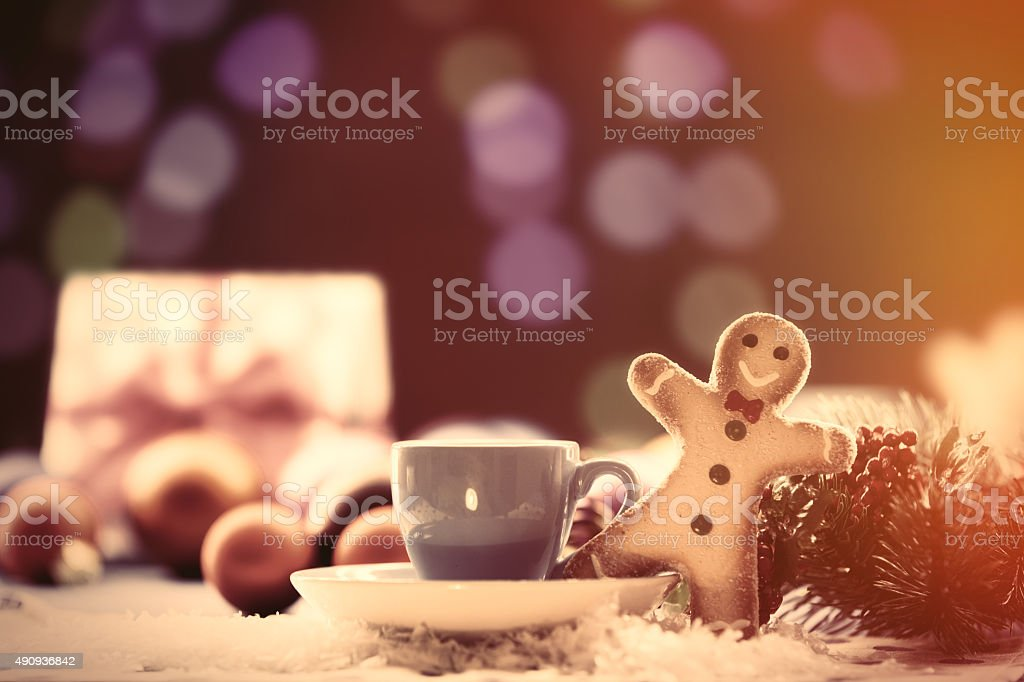Cup of tea and gifts stock photo