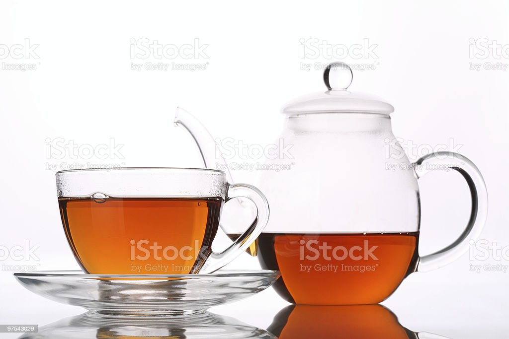 Cup of Tea and Glass Pot royalty-free stock photo