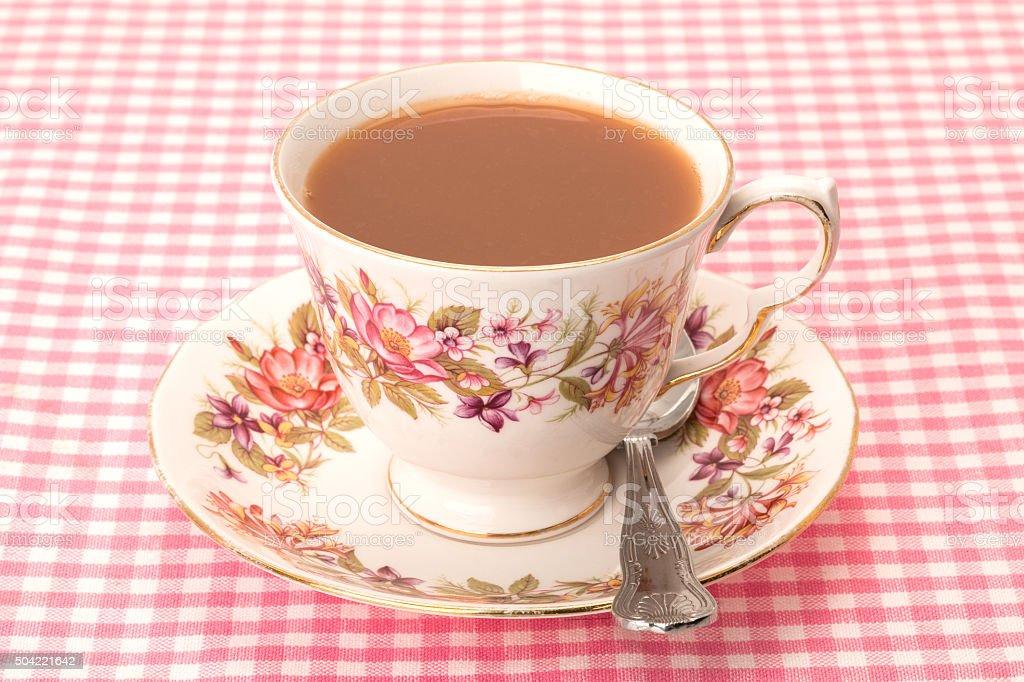 Cup of tea - antique crockery stock photo