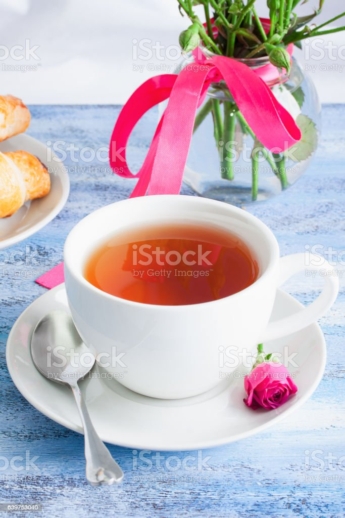 Cup of tea in the morning. stock photo