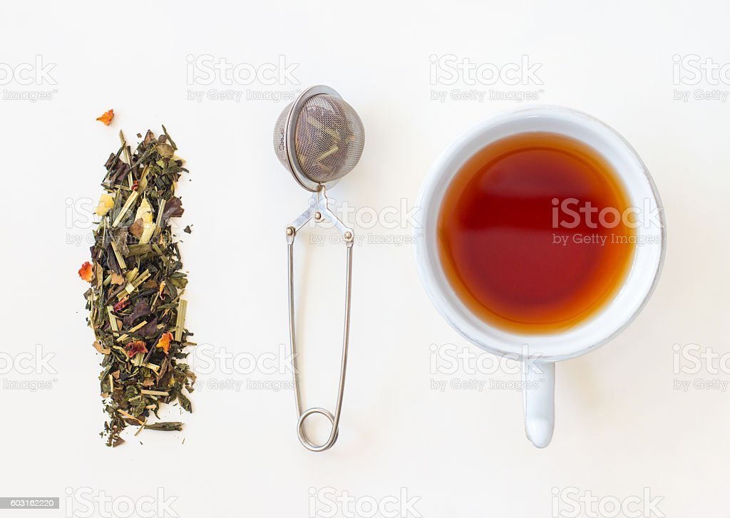 Cup of tea, loose tea and strainer on white background stock photo
