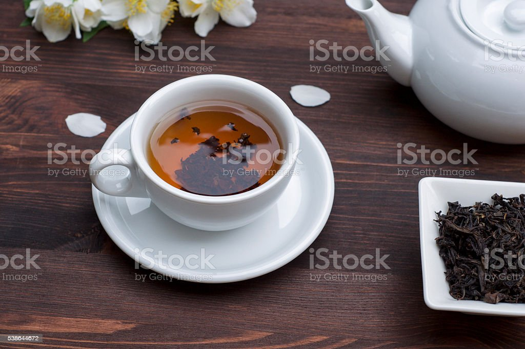 cup of tea on the table stock photo