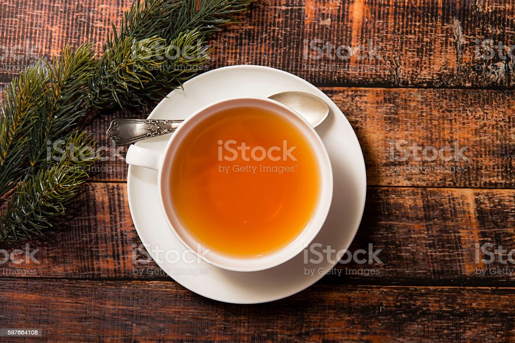 Cup of tea on wooden background, top view stock photo