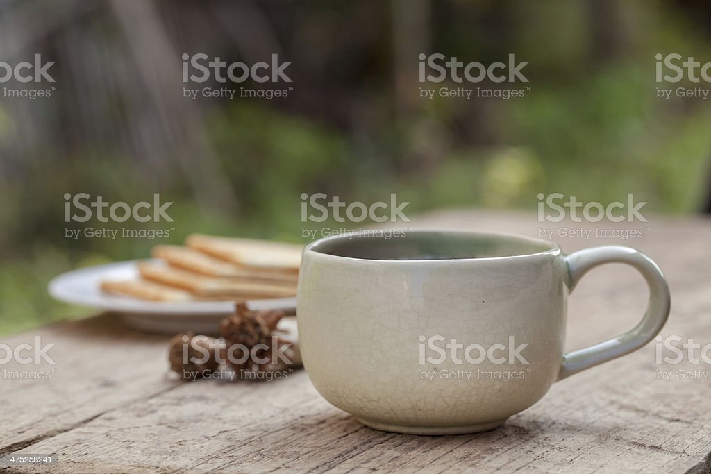 Cup of tea on wooden table royalty-free stock photo
