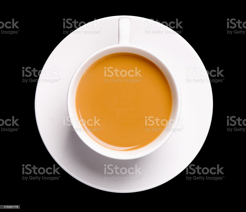 Cup of tea seen from above on a black background royalty-free stock photo