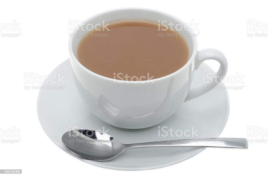 Cup of tea with a teaspoon stock photo