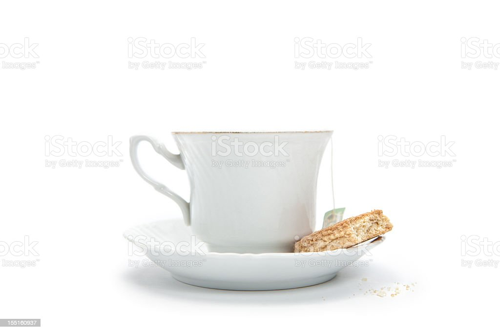Cup of tea with biskuit stock photo