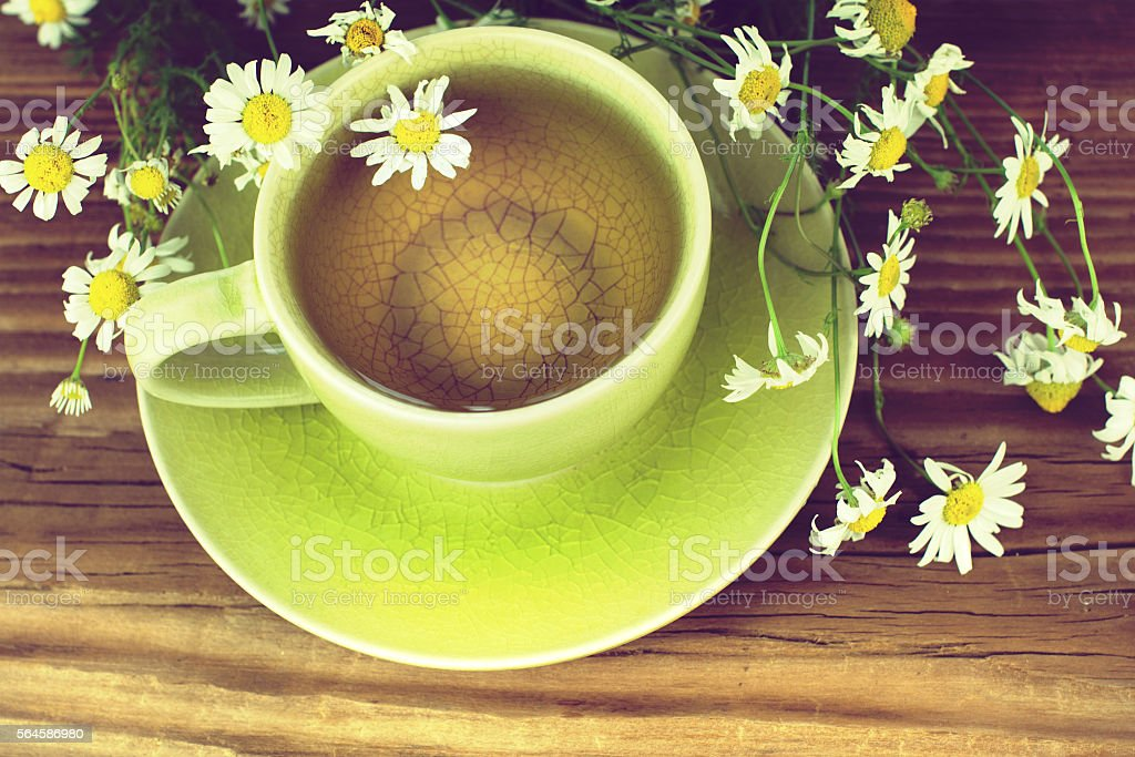 Cup of tea with chamomile flowers. stock photo