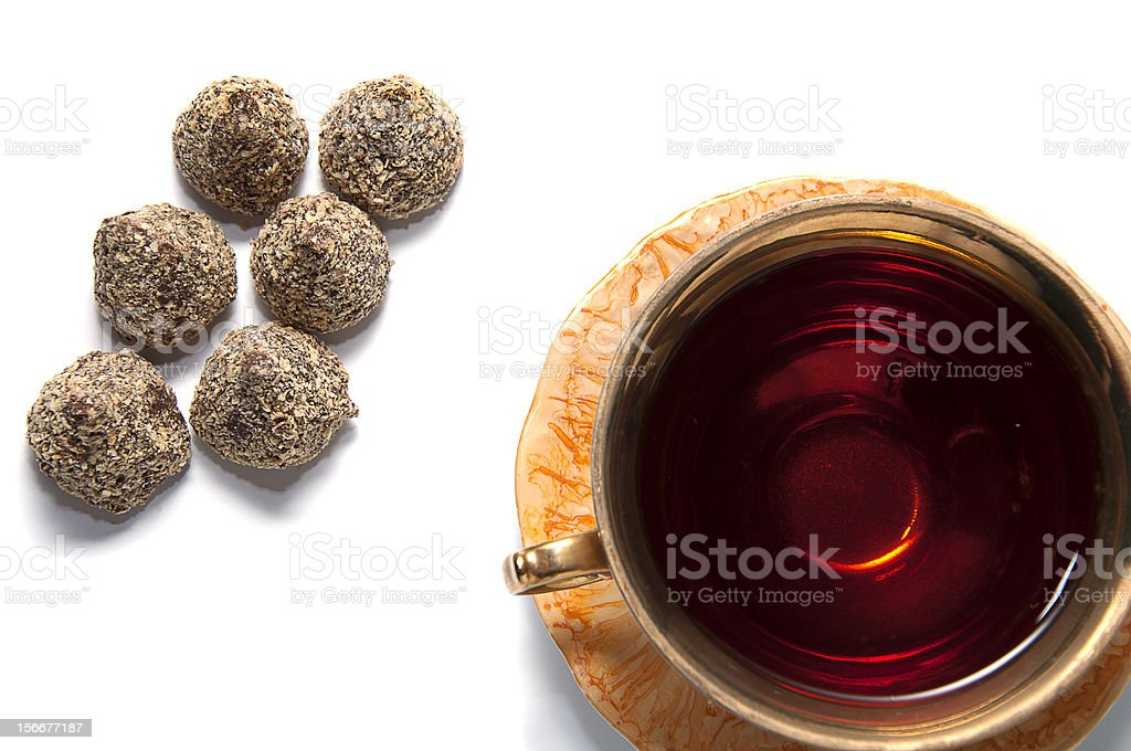 cup of tea with chocolates royalty-free stock photo