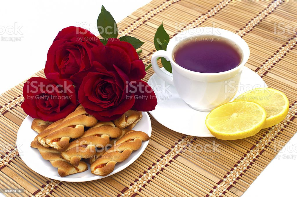 cup of tea with cookies and lemon royalty-free stock photo
