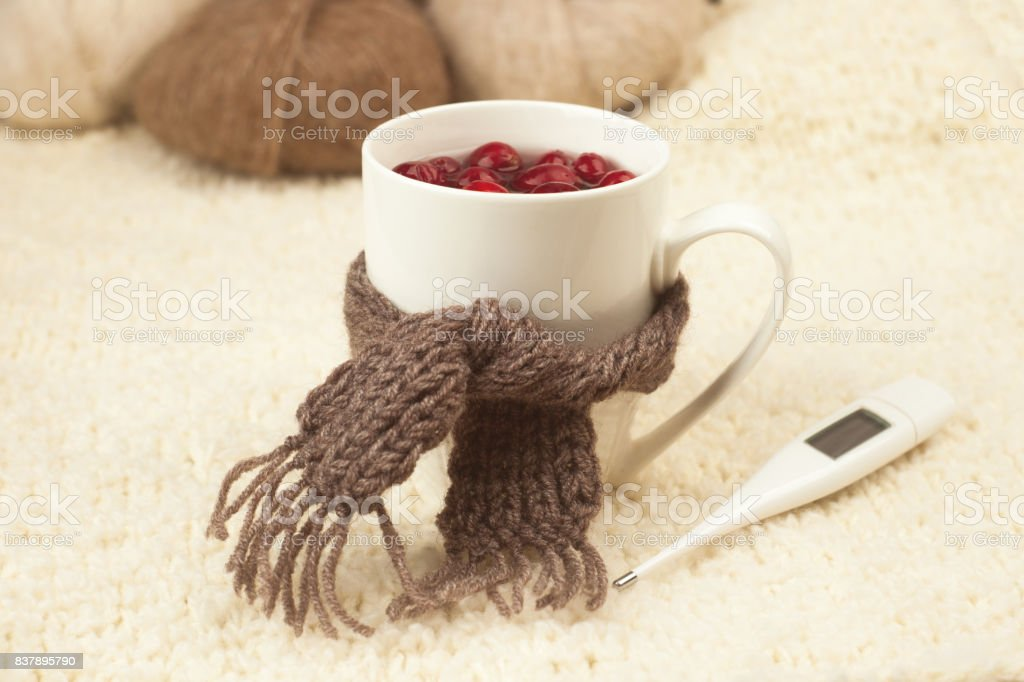 Cup of tea with cranberries, scarf, thermometer - the concept of seasonal respiratory diseases, treatment of colds stock photo