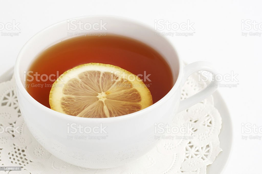 Cup of tea with lemon royalty-free stock photo