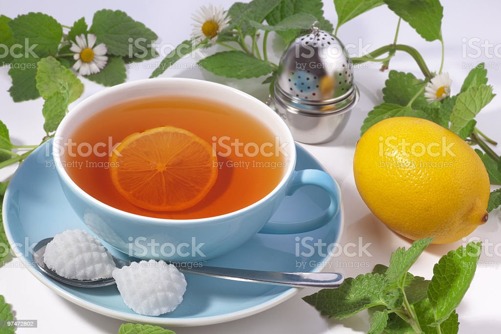 Cup of Tea with slice lemon royalty-free stock photo