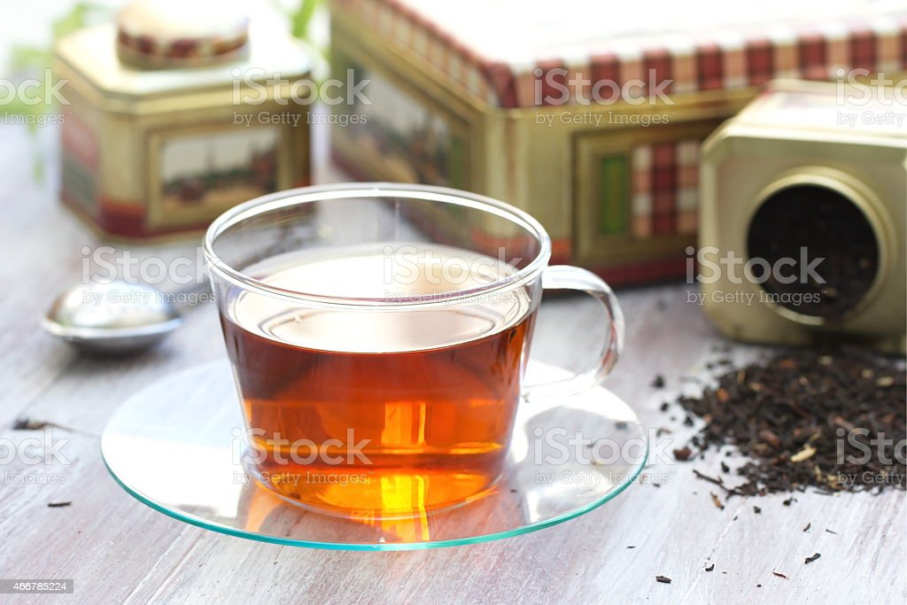 Cup of tea with sugar stock photo