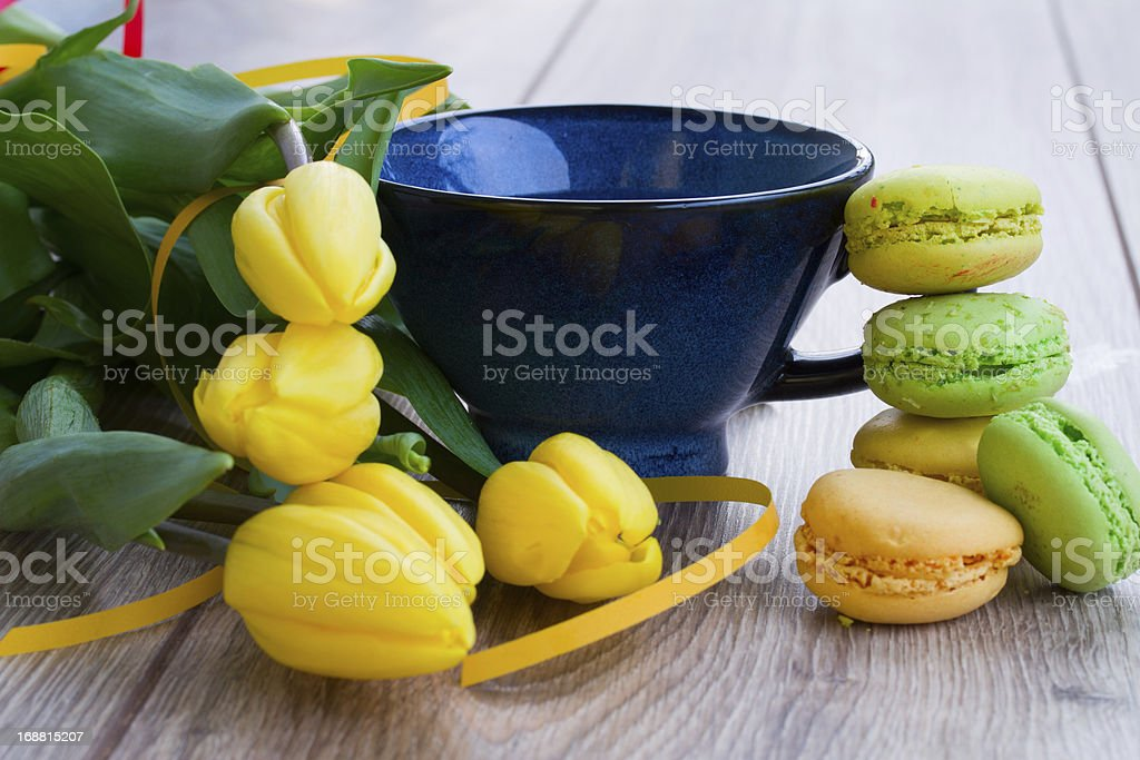 cup of tea with tulips royalty-free stock photo