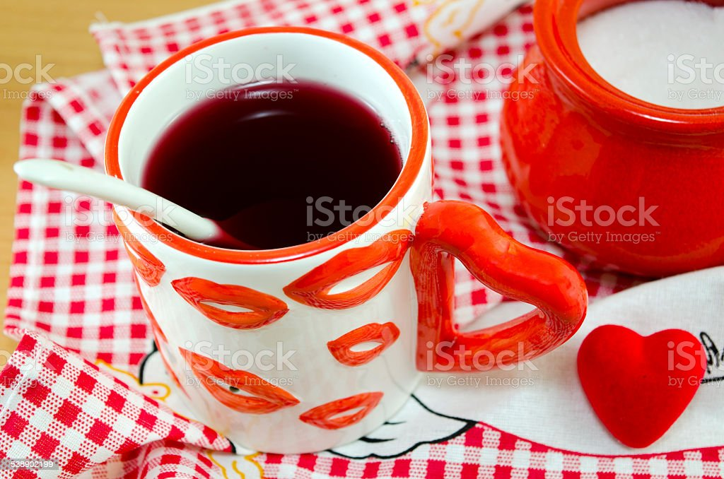 Cup of tee with love symbols royalty-free stock photo