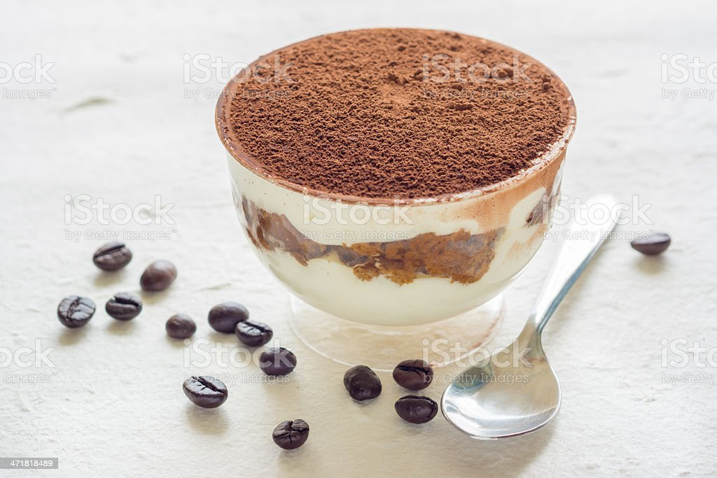 Cup of Tiramisu (with coffee beans) royalty-free stock photo
