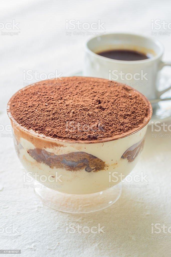 Cup of Tiramisu (with black coffee) royalty-free stock photo