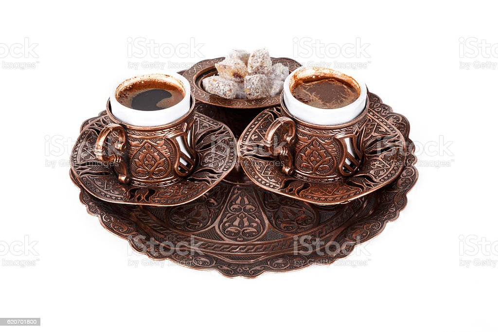 Cup of Turkish Coffee and Delights stock photo