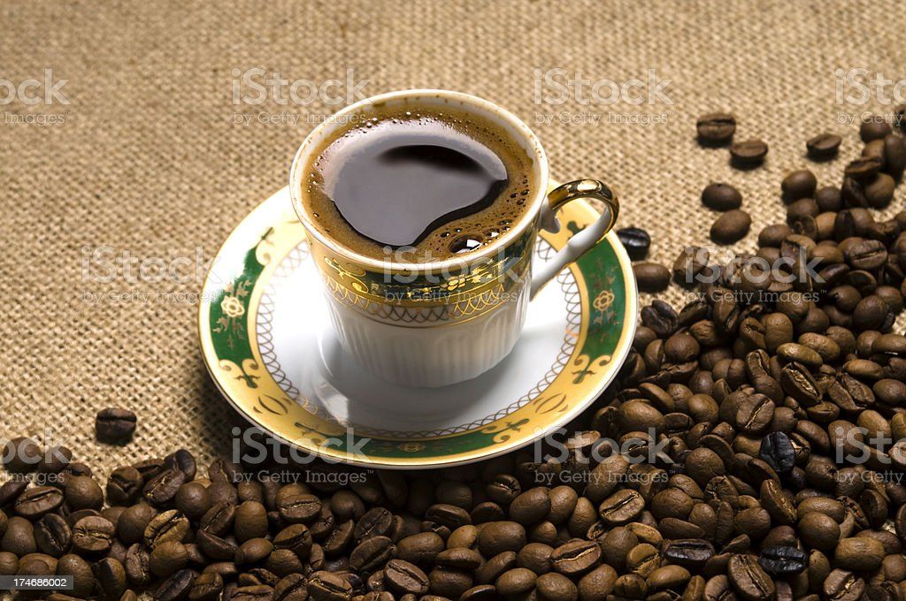 Cup of Turkish Coffee with roasted coffee-beans royalty-free stock photo