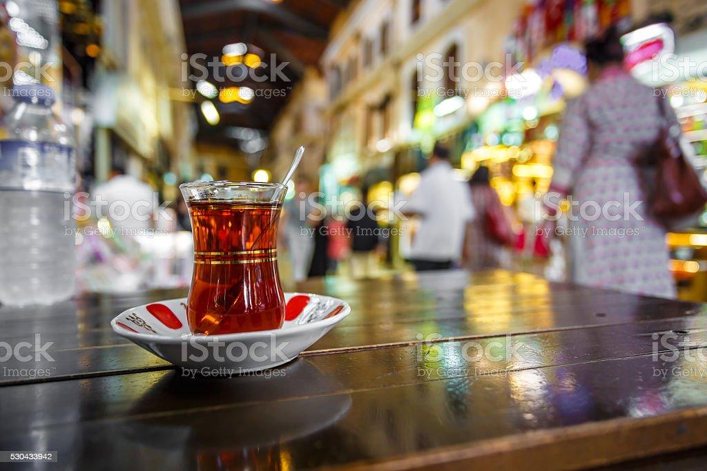 Cup of Turkish tea at the Grand Bazaar, Istanbul (Turkey) stock photo