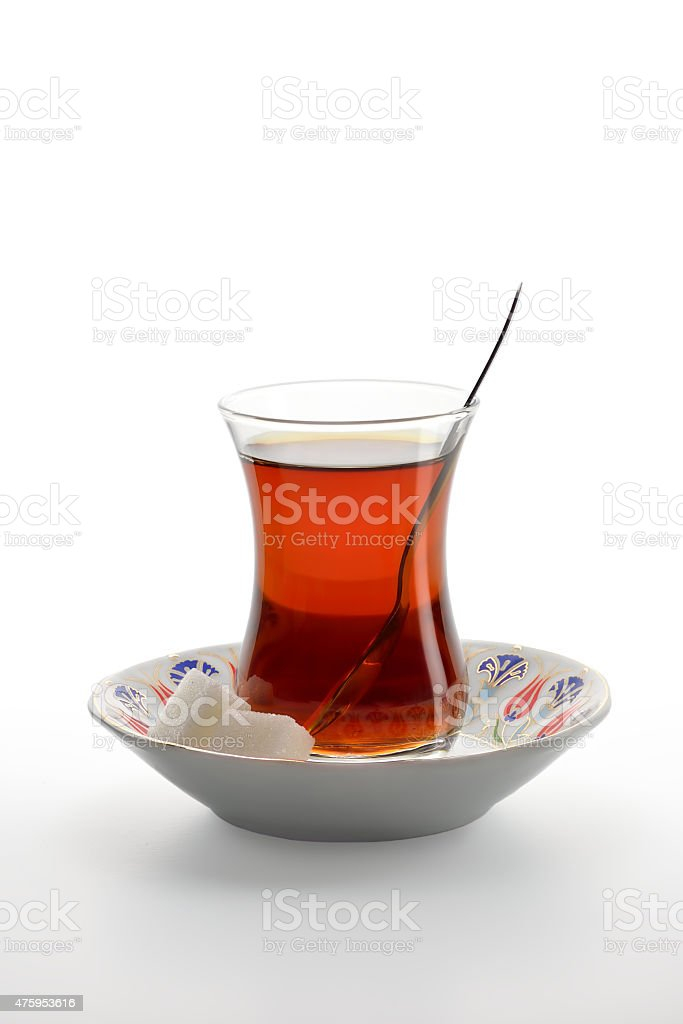 Cup of turkish tea isolated on a white background. stock photo