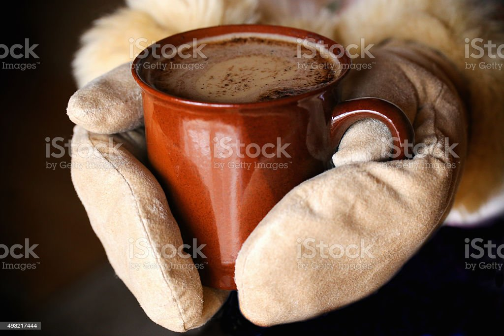 Cup of winter coffee stock photo