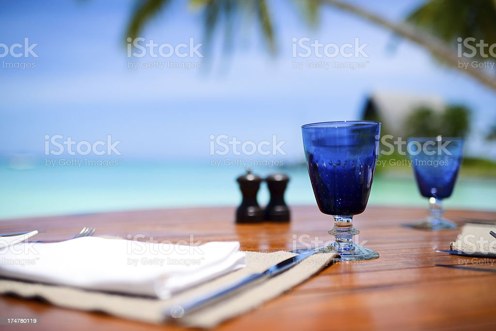 Cup On Seaside Table stock photo