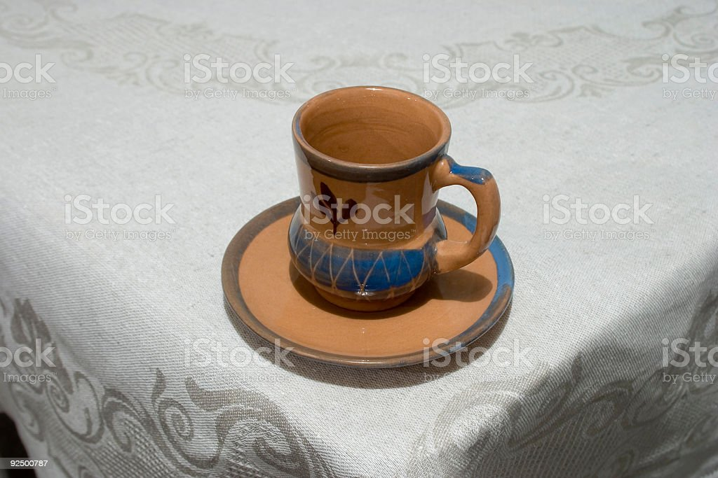 Cup on the corner of restaurant table stock photo