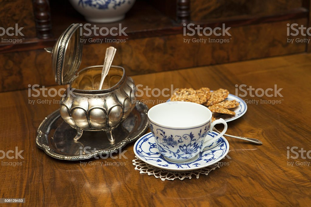 Cup, sugar, cookies stock photo