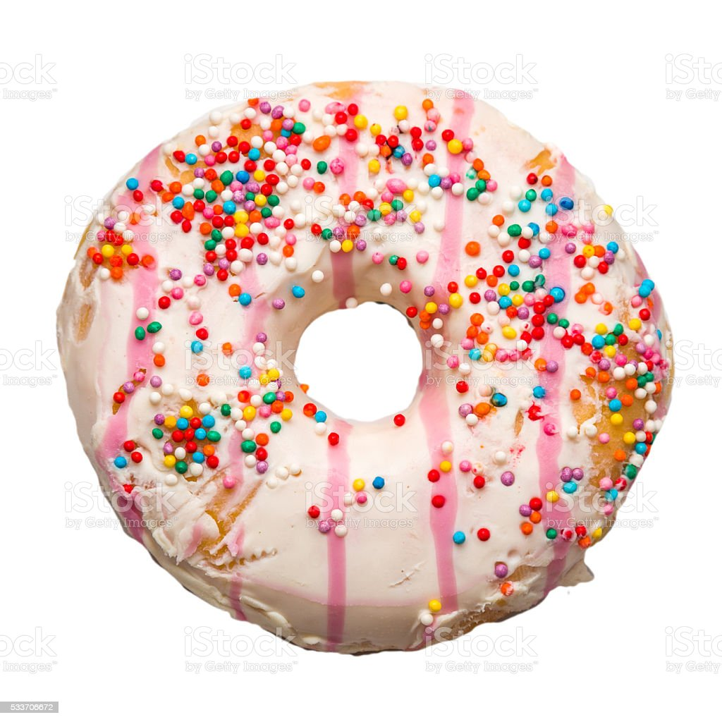 cup sugar donut isolated on white background stock photo